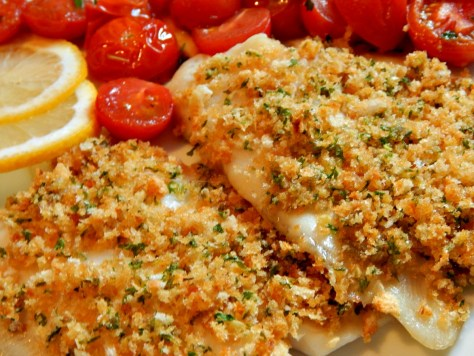 Tilapia with Crusted Herb Topping