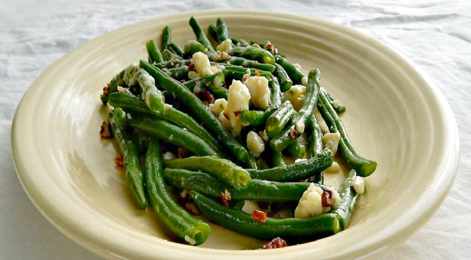 Simple Green Beans with Pecans & Gorgonzola or Bleu Cheese