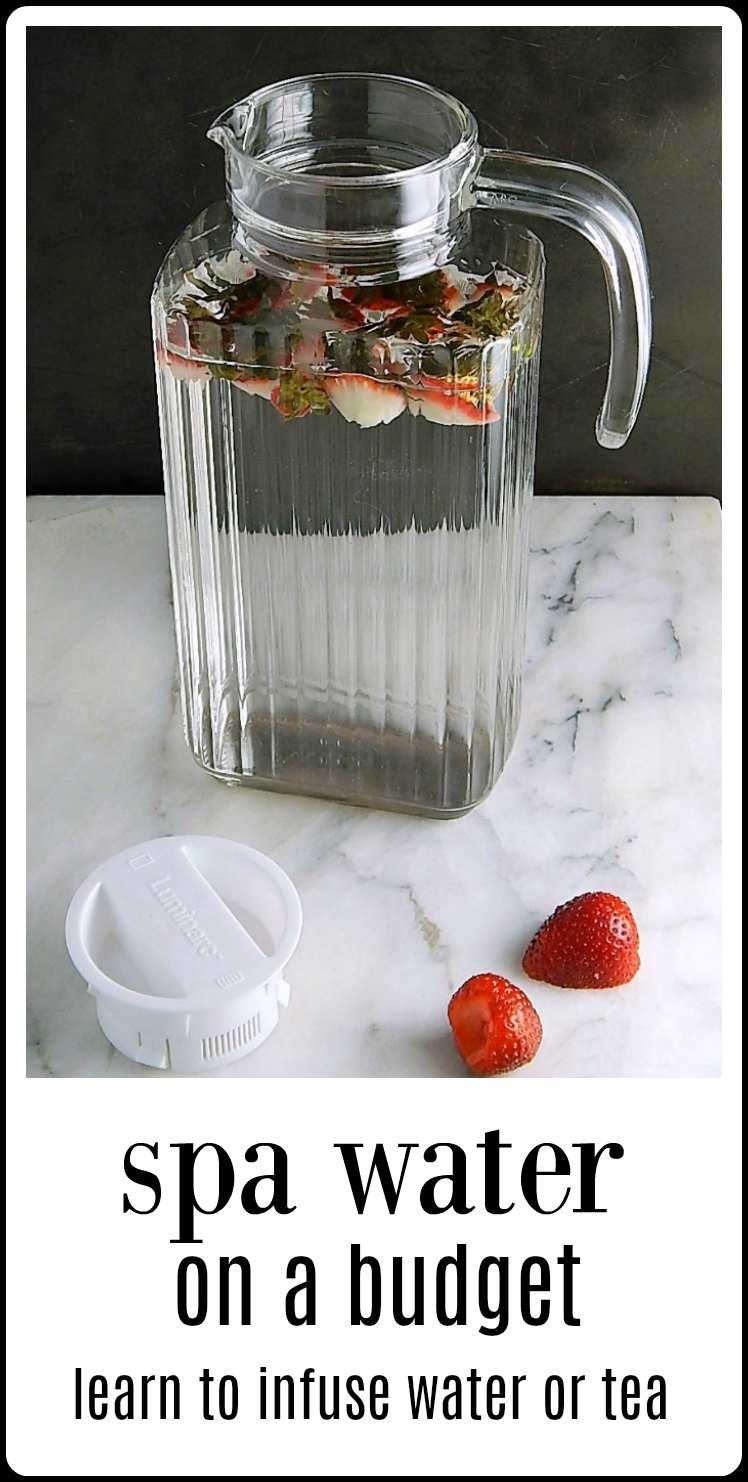 Put your fruit scraps and peelings to good use! Use them to infuse water for Spa Water on a Budget. It's surprising how much flavor is there. #SpaWater #SpaWaterOnABudget #NoFoodWaste