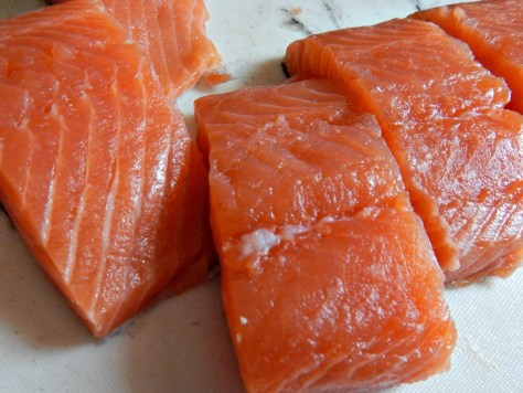 I've trimmed the Salmon, cut into fillets and even taken off the side bits for another recipe
