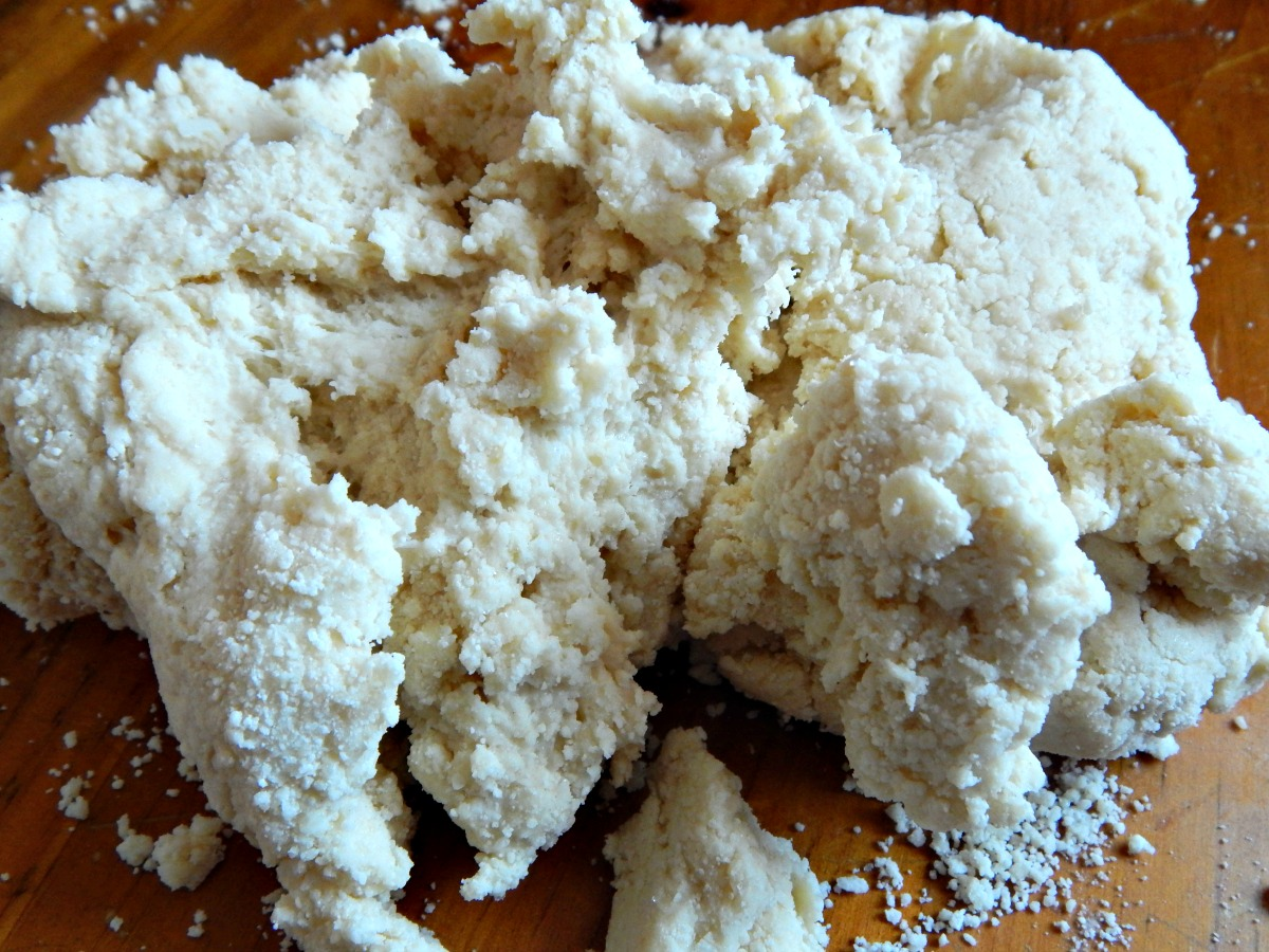 Pull crumbles together and schmear with heal of hand. This dough is done.