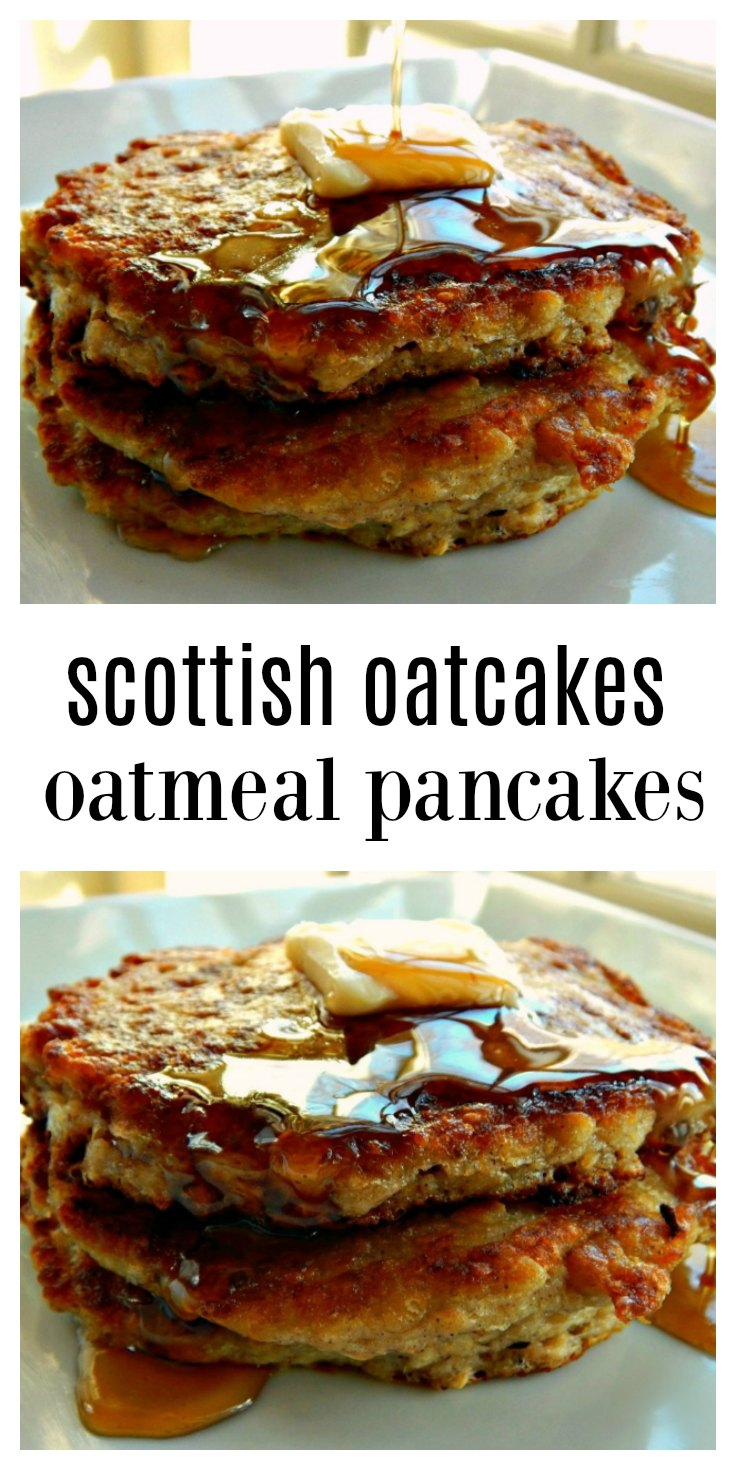 Scottish Oatcakes Oatmeal Pancakes - Easy mix ahead overnight pancakes, almost ready to go in the am. Hearty, healthy and downright delicious! They freeze great, too. #OatmealPancakes #OvernightOatmealPancakes