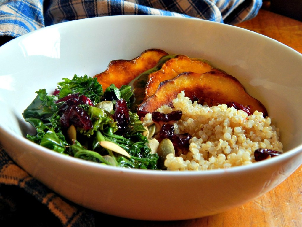 Wilted Kale Salad with Acorn Squash and Warm Cranberry Vinaigrette