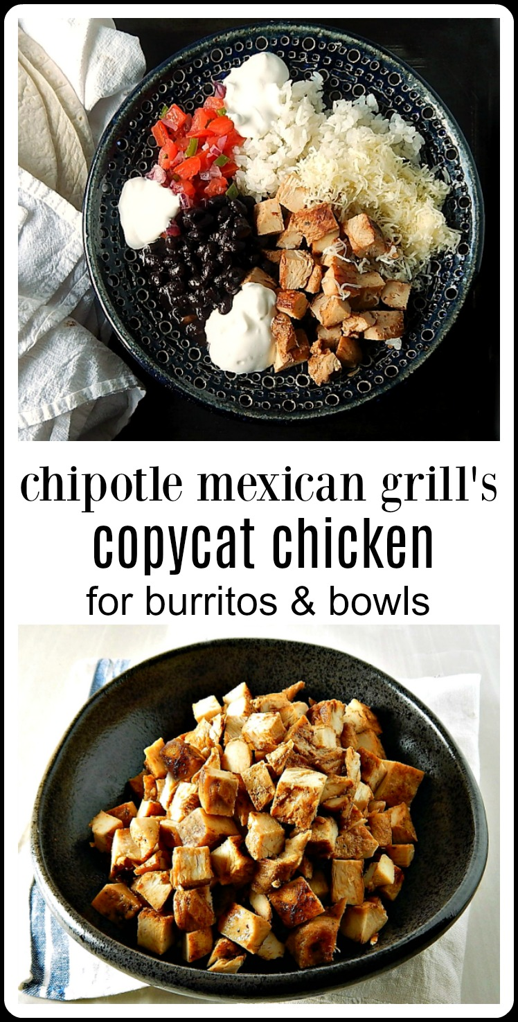 Chipotle Chicken Copycat Recipe. This is REALLY the one! Easy & Excellent and made at home for a fraction of the cost of Chipotle Restaurants #ChipotleChickenRecipe #ChipiotleChicken #CopycatChipotleChicken