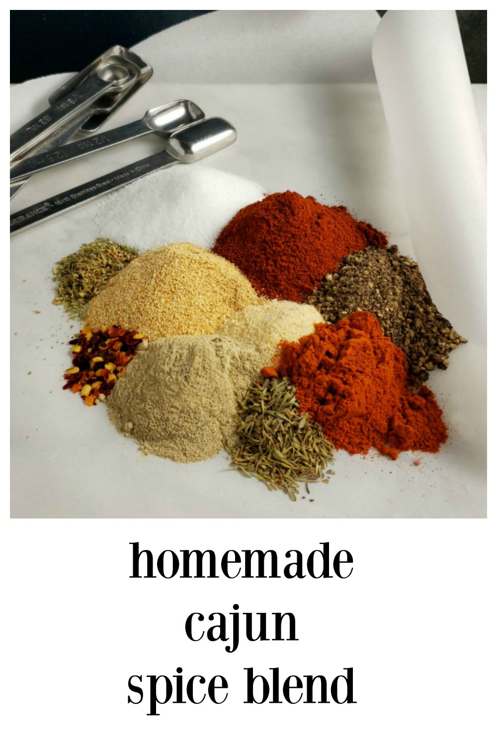 "Make the freshest Cajun Spice Blend in minutes. It will ""jazz up"" just about anything you put it in, or on and will blow away other blends! Cajun Spice Blend - so good, fresh and customizable! #CajunSpiceBlend #CajunSpice #HomemadeCajunSpice #MardiGrasRecipes #HomemadeSpiceBlends #NewOrleansCooking"