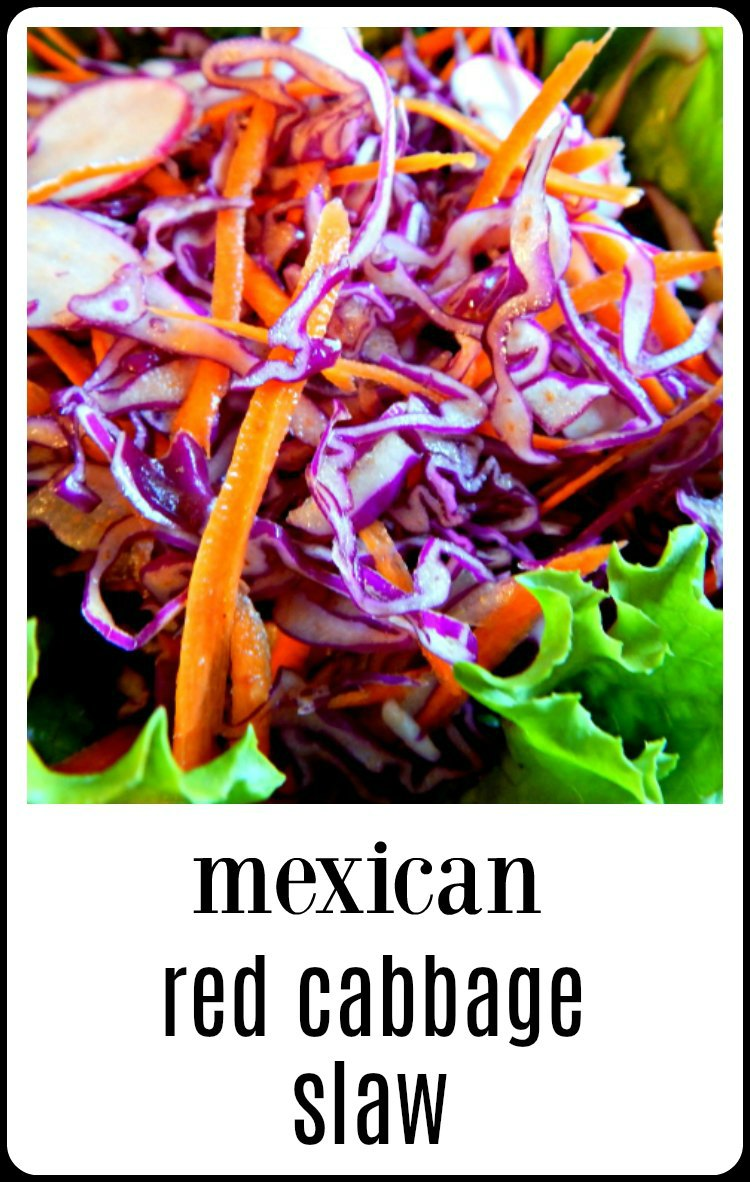 Mexican Red Cabbage Slaw is so fresh and gorgeous you'll want to serve it all the time with your tacos, tostadas or as a side. Easy to make, Inexpensive and keeps well. #MexicanRedCabbageSlaw
