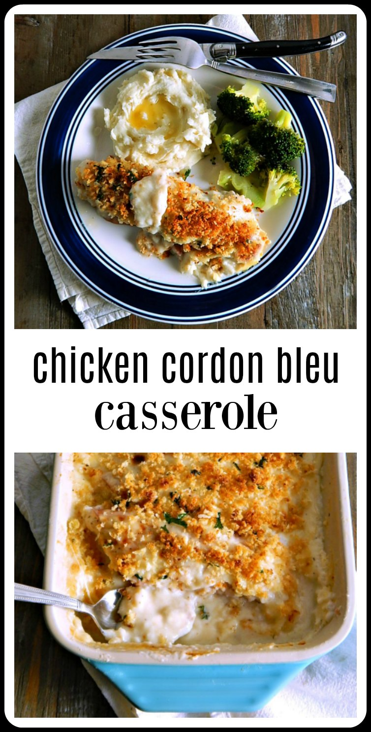Chicken Cordon Bleu Casserole; moist chicken filled with cheese, a cheesy Mornay sauce, and crunchy breadcrumbs. All the flavors you'd expect, and better than the original, plus it's easy to make. #ChickenCordonBleu #ChickenCordonBleuCasserole