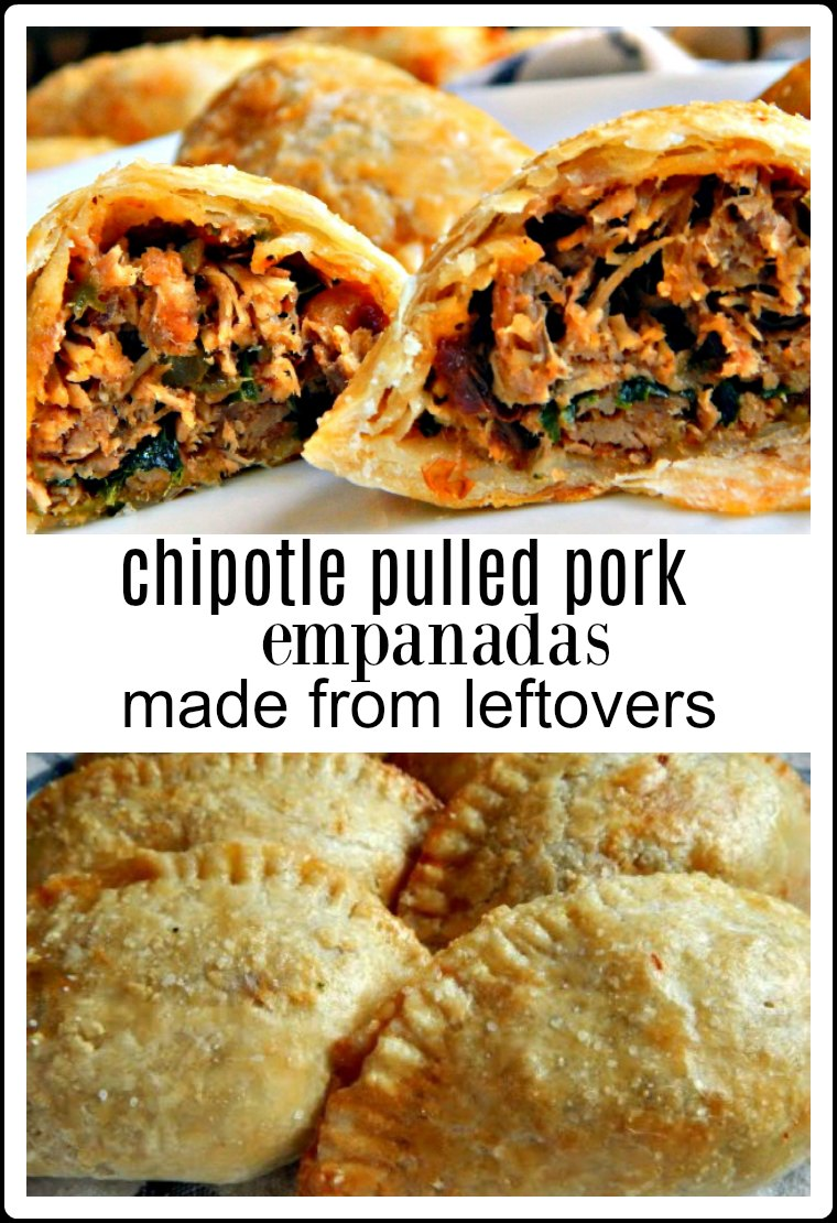 Empanadas are a fave whether a traditional filling or a crazy wild combo, they're just fun! They shout party! These Chipotle Pulled Pork Empanadas are no exception - and they start from leftover pulled pork! #Empanadas #Chipotle Pulled Pork Empanadas #Empanadas leftovers #pork empanadas