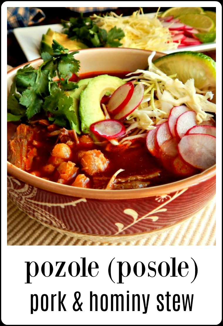 Pozole Pork Hominy Stew (Posole) Succulent pork and hominy swimming in a rich, garlicky, chile-based broth; the taste is reminiscent of tamales. Traditional or Shortcut Methods. #Pozole #PozoleRojo #TraditionalPozoleRojo #Posole