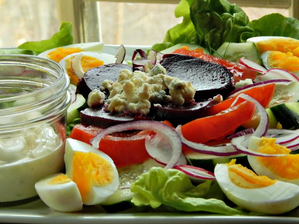 Irish Pub Salad, bibb lettuce, pickled beets, and amazing dressing topped with bleu cheese