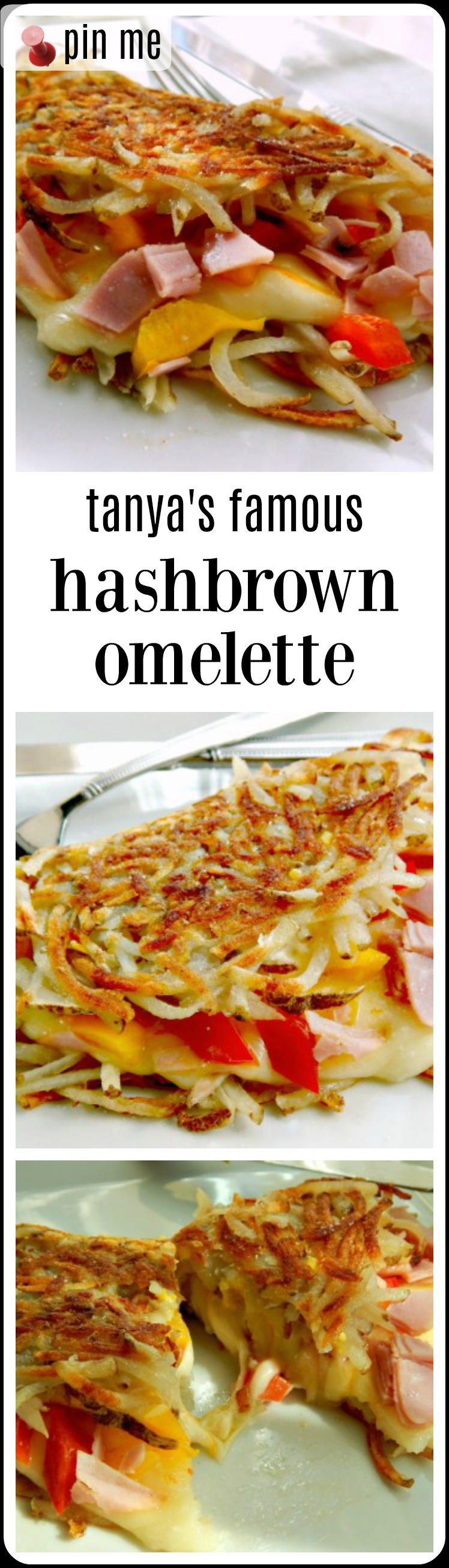 This is a hashbrown omelet. A layer of beautifully cooked hash browned potatoes topped by a thin layer of egg, cheese, ooey and gooey, &a filling of your choice. Then, the whole works is folded over into a crispy, crunchy, on the outside, cheesy, creamy, on the inside, breakfast. #HashbrownOmelette #HashbrownOmelet #Hashbrown #Omelet