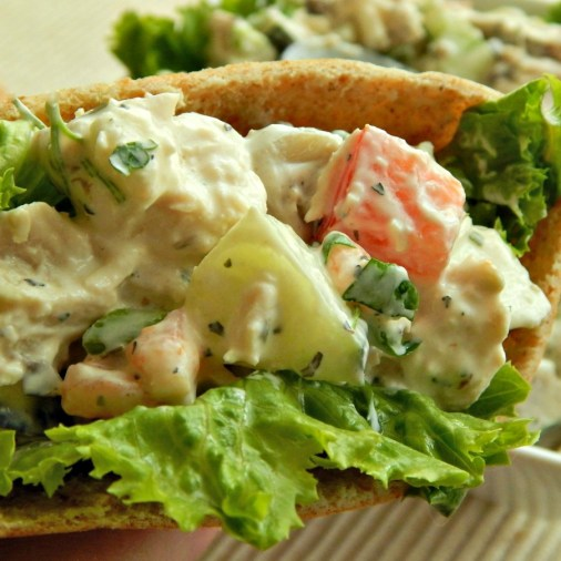 Greek Chicken Salad http://frugalhausfrau.com/2015/04/17/greek-chicken-salad-sandwiches/