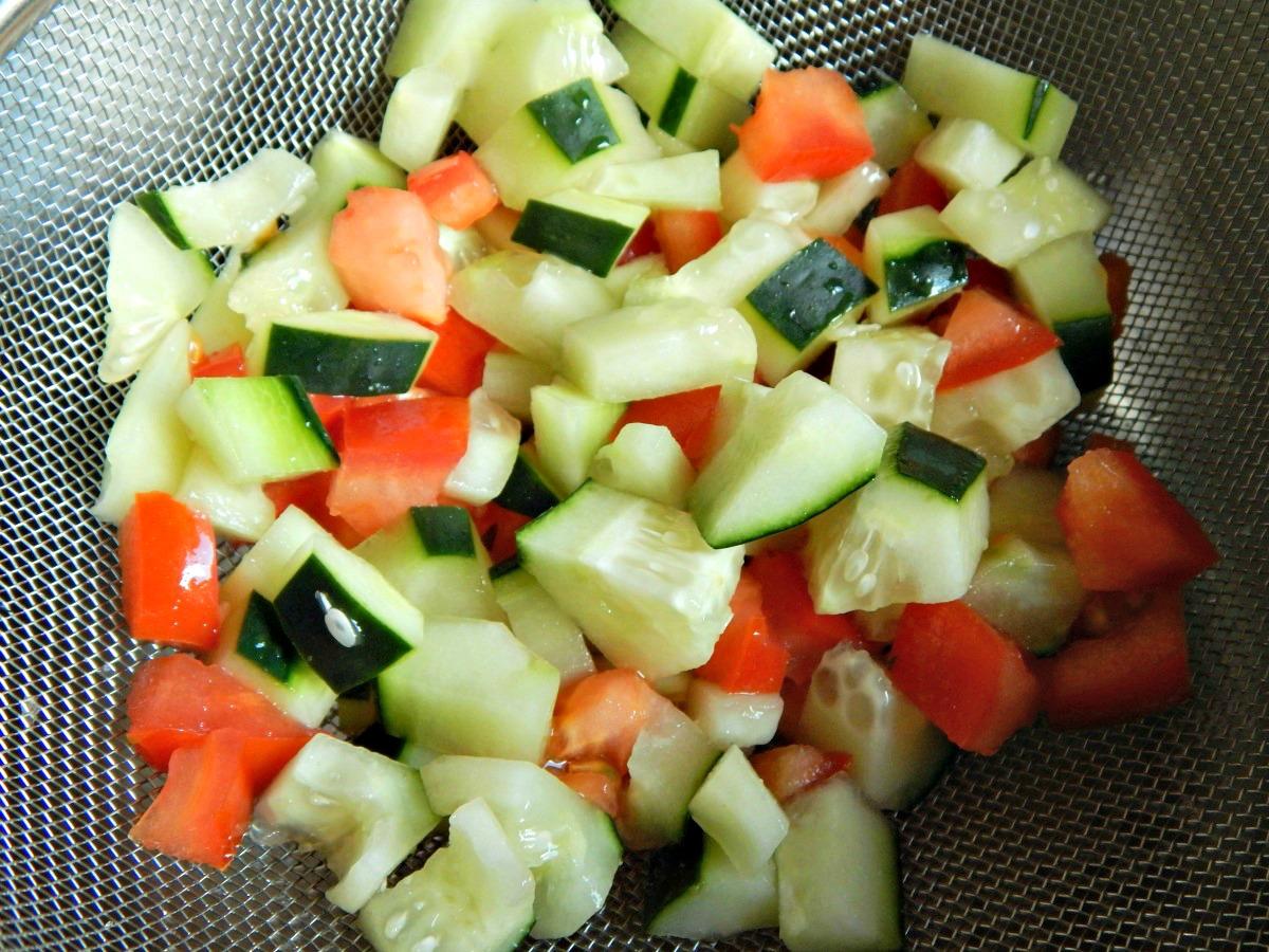 Salt & Strain wet veggies so they don't weep into creamy salads