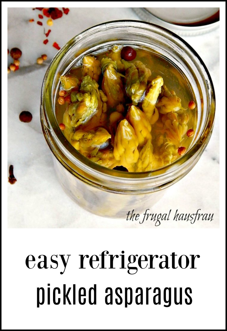 Easy Refrigerator Pickled Asparagus: A quick no can pickled asparagus - for cocktails, crudite or cheese platters, snacking or salads. #PickledAsparagus #EasyPickledAsparagus #RefrigeratorPickledAsparagus