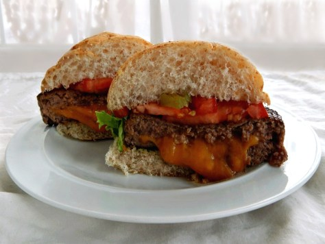 Juicy Lucy - The ultimate cheese stuffed burger - btw - never cut in half! For display purposes only!