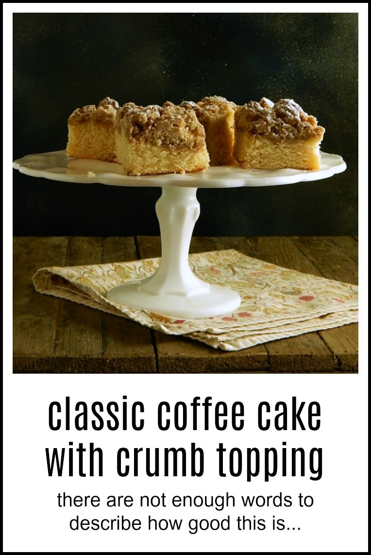 There aren't enough words to describe how over the top good Classic Coffee Cake - Crumb Topping is. This would be fabulous at a brunch or for overnight guests to nosh in the a.m. #ClassicCoffeeCakeCrumbTopping. #NewYorkCoffeeCake