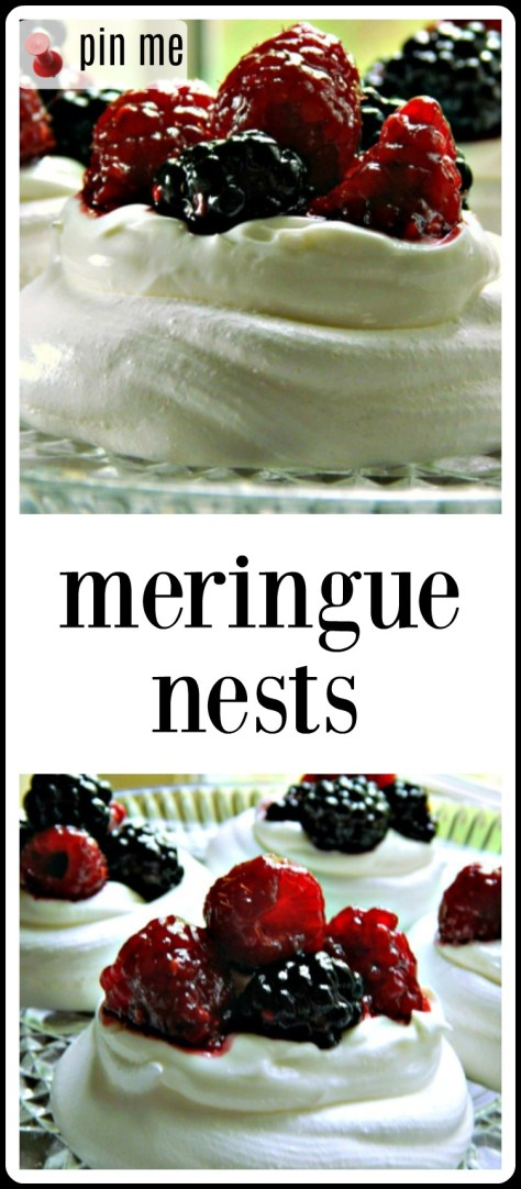 Meringue Nests: fill with yogurt or whipped cream and berries, lemon curd or just about anything you want! So perfect for late winter/spring