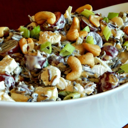 Wild rice chicken salad: https://frugalhausfrau.com/2015/10/12/wild-rice-chicken-salad-waterchestnuts-grapes/