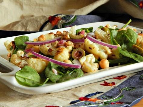 Oven Roasted Cauliflower and Chickpea Salad