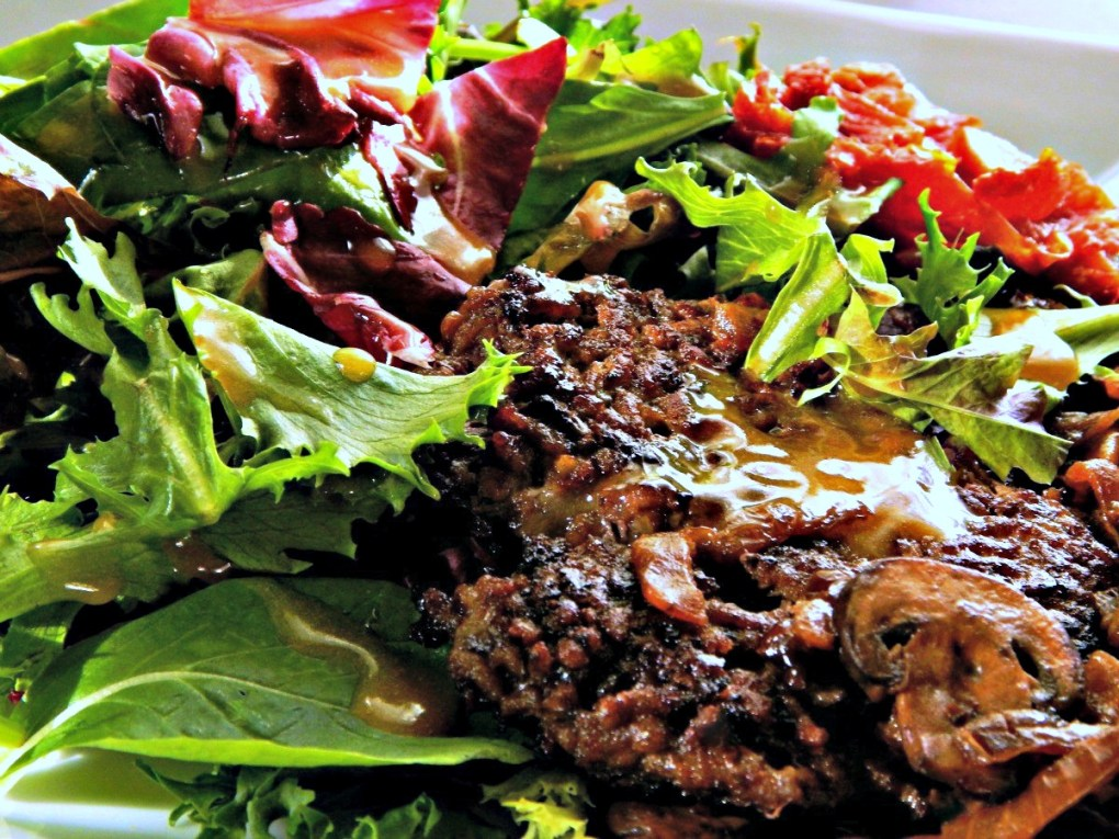 Taphouse Salad with Roasted Tomatoes, Mushrooms and a Smashburger