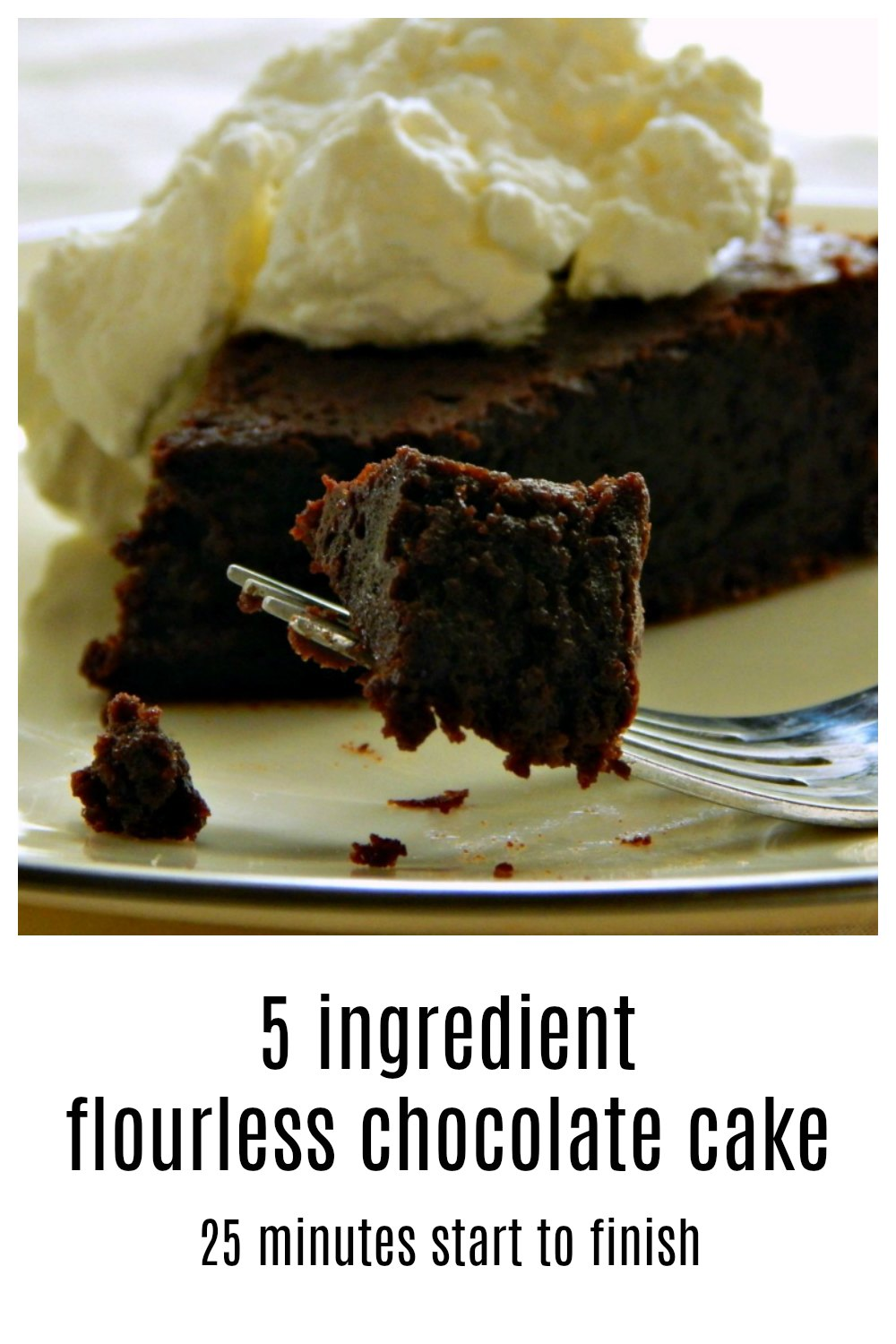 This is the famous 5 ingredient 25-minute start to finish flourless chocolate cake from Gourmet Magazine. It's a little homely but oh so chocolaty! #GourmetsFlourlessChocolateCake #FlourlessChocolateCake