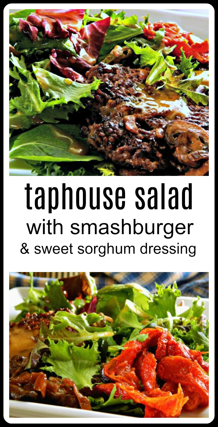 This spectacular salad, the Taphouse Salad with Roasted Tomatoes Mushroom Smashburger, was stolen. Inspired by a beer pub in Sioux Falls, Taphouse 41. I would never have thought to order such a thing - my Dad did. Then I salivated over his meal. A mess of greens, a Smashburger, oven roasted tomatoes, pan roasted mushroom, and Sweet Sorghum Vinaigrette #TaphouseSalad #SmashburgerSalad