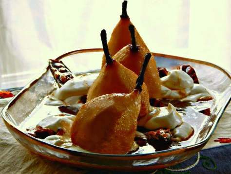 Roasted Pears with Lemon Cream and Maple Caramel