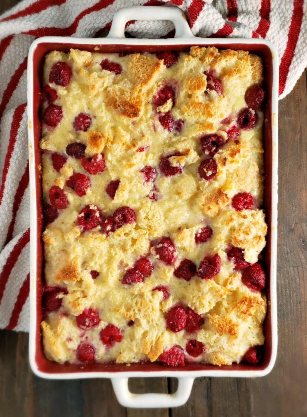 White Chocolate Raspberry Bread Pudding