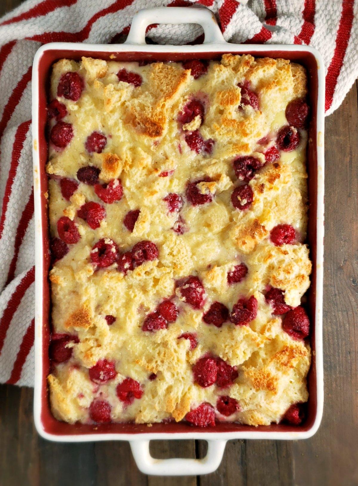 White Chocolate Raspberry Bread Pudding With Amaretto