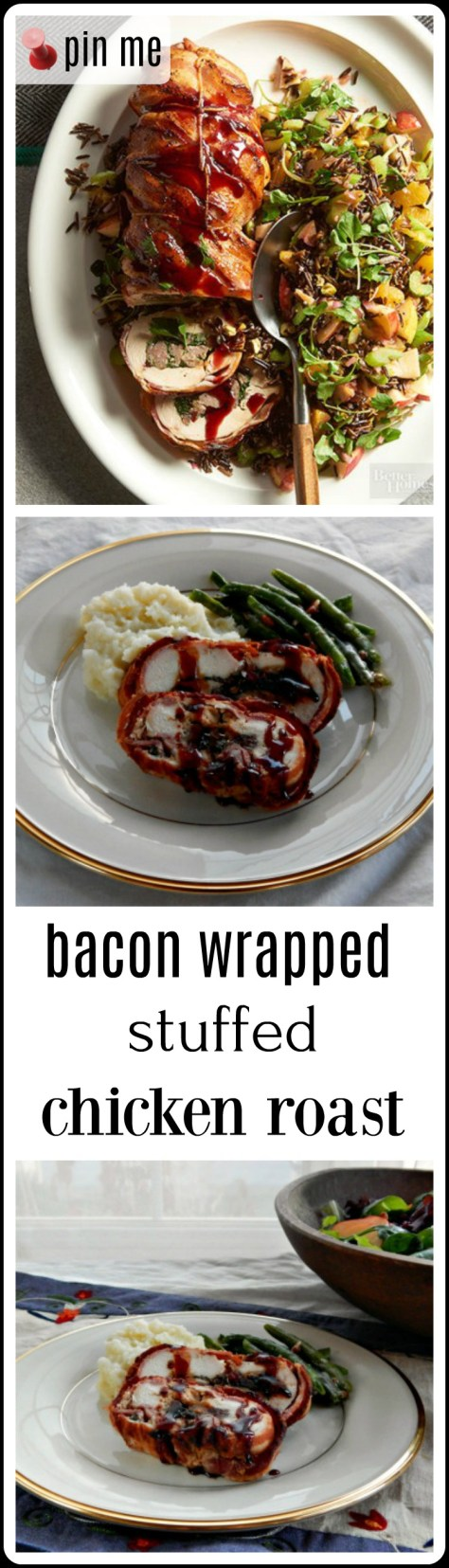 Bacon Wrapped Stuffed Chicken Roast: Chicken breast stuffed with sausage, cheese, spinach and port soaked dried cherries, all rolled up and wrapped in bacon!
