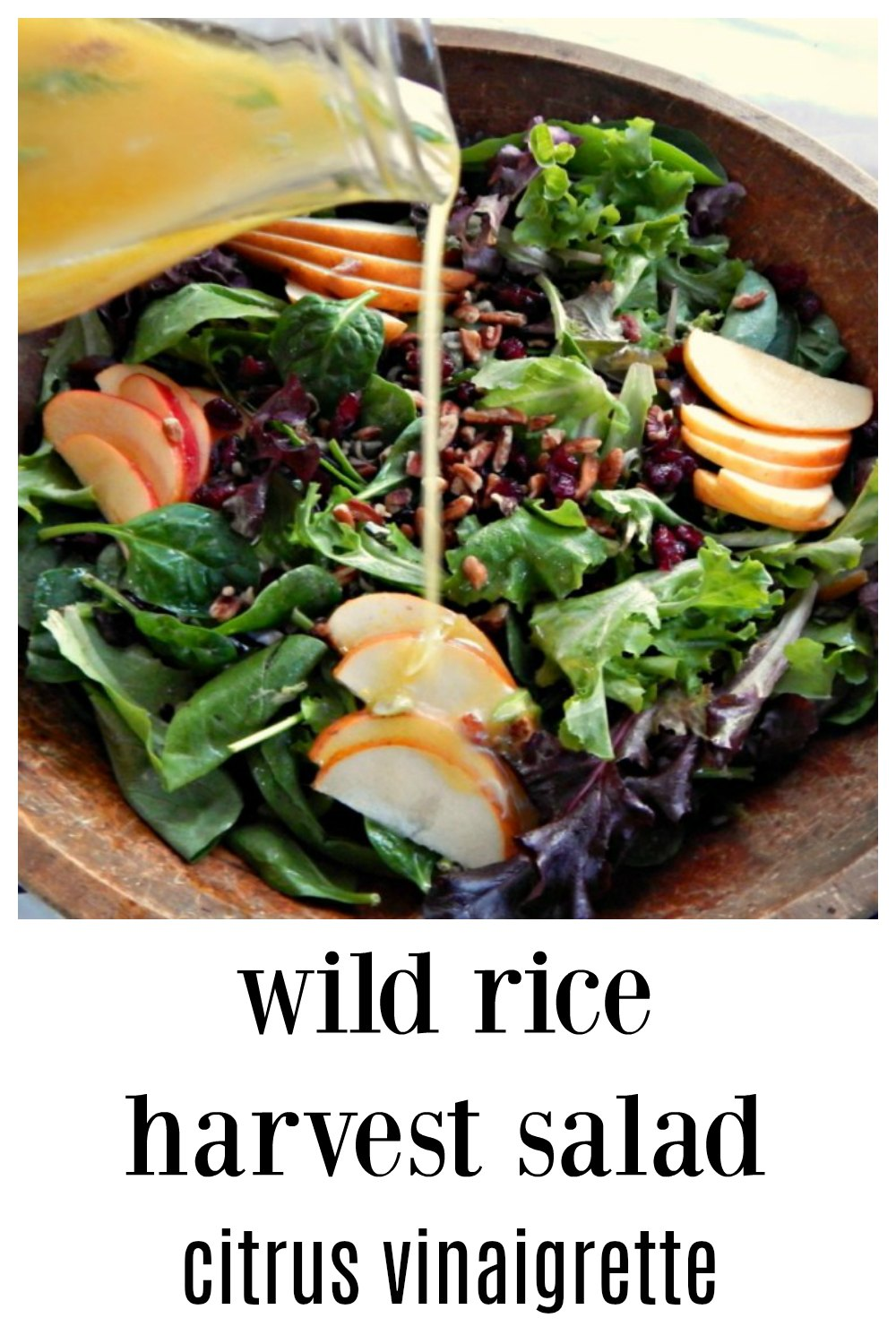 This Harvest Wild Rice Salad Citrus Dressing is everything! Serve this at a holiday or dinner party and it's going to be the star of the show. Loaded with everything good! #WildRiceSalad #HarvestSalad #HolidaySalad #SaladApplesPears