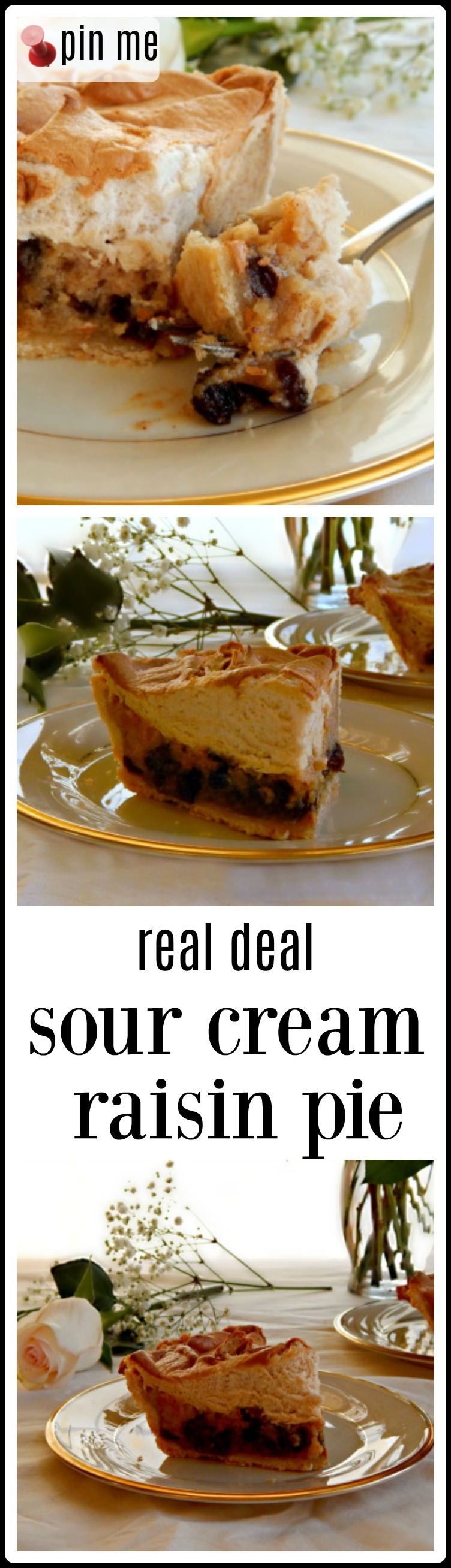 Sour Cream Raisin Pie - A Midwestern Specialty passed down by the German pioneers of the area. It's an easy recipe paired with my Grandma's Pie Crust and a Brown Sugar Meringue Topping #SourCreamRaisinPie