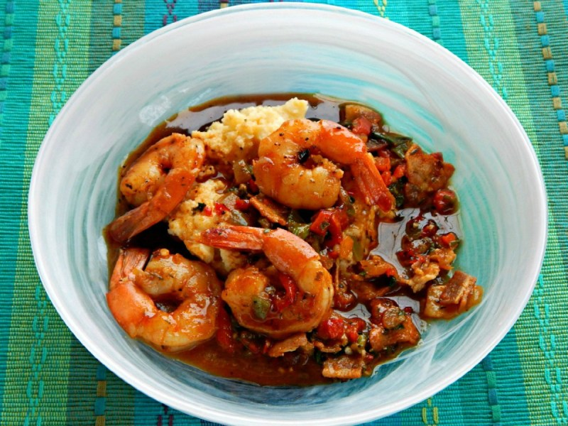 Shrimp & Grits with Cajun Gastrique