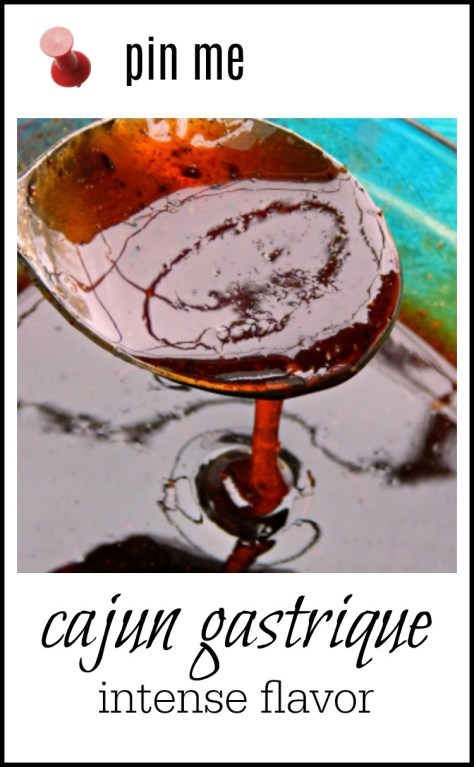 Cajun Gastrique has an intense cajun flavor combined with a sweet/vinegar taste! It will wake you up! Drizzle a little on shrimp & grits or just about anywhere else you'd like to perk up flavors