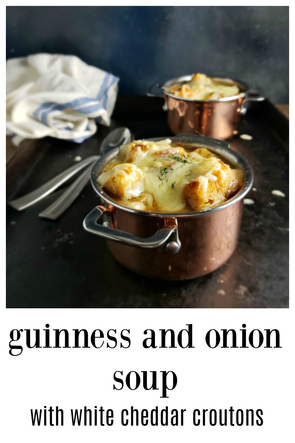 Guinness Onion Soup with White Cheddar Croutons- this is the one you want, the one that takes this soup from a novelty to crave-worthy. Insanely good & everything you need to know. (Doncha hate finding a recipe and going thru 400 comments to figure out how to make it? Not with this one!#GuinessOnionSoup #StPatricksDayRecipe #OnionSoup #GuinnessSoup #StPaddysDayRecipe #GuinnessOnionSoupWhiteCheddar #IrishG