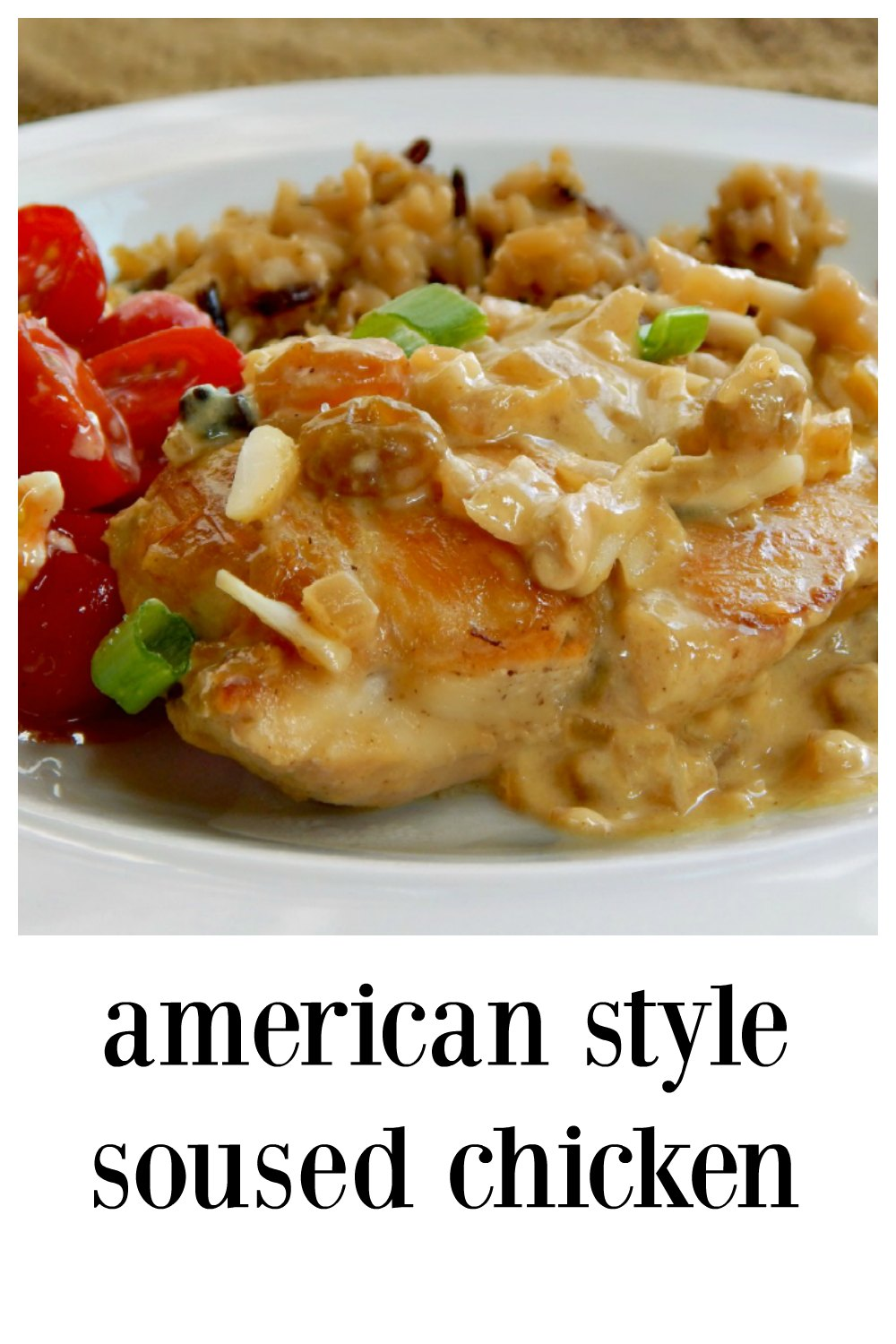 Simple American Style Soused Chicken; creamy, saucy, scented with cumin & clove, studded with raisins & almonds, and accented with lime. Company worthy & easy enough for a weeknight! #SousedChicken #ChickenWine