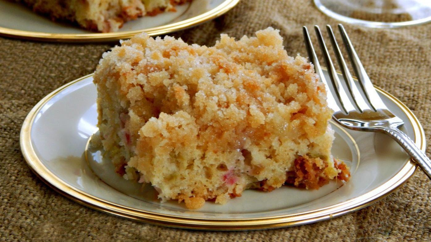 Sour Cream Rhubarb Coffee Cake Frugal Hausfrau