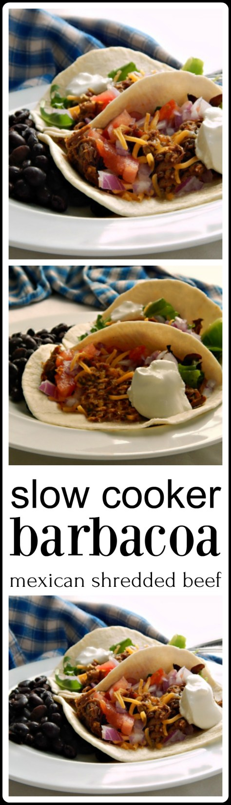 Slow Cooker Barbacoa - a family favorite. A handful of ingredients and the pay off! Makes enough to freeze some.