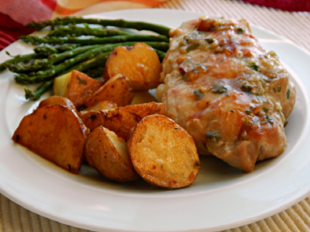 Herb Rubbed Beer Brined Pork Chops with Roasted Potatoes