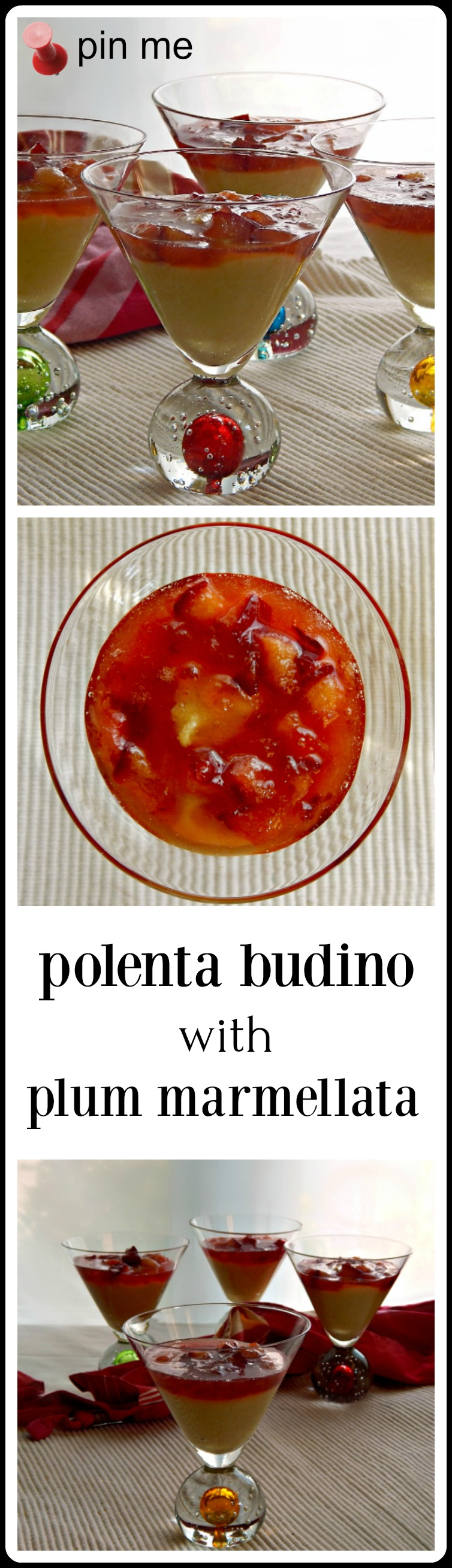 """Polenta Budino - like a cornmeal pudding with a dreamy plum compote. From Mario Batali. Kind of like """"Indian Pudding"""" only better!"""