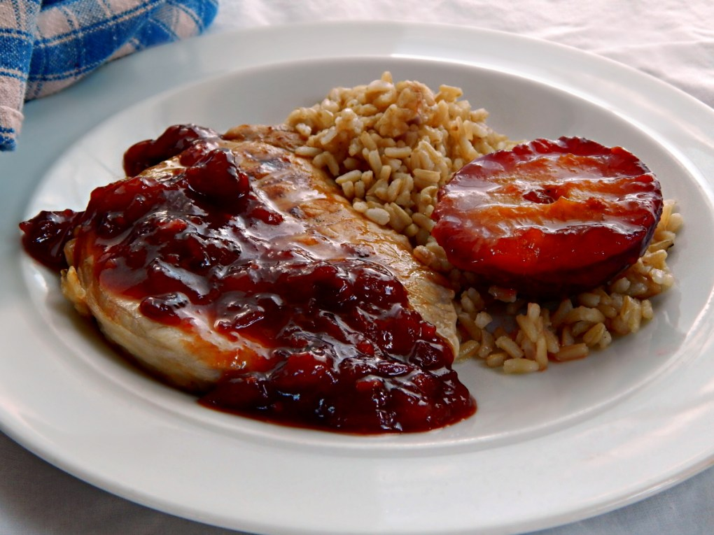 Pork Chops with Plum Compote