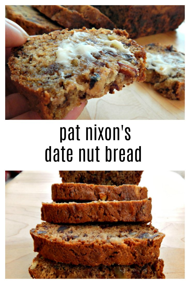 "Unless you've tasted a really good date nut bread you might not ""get it"". Here's the best, Pat Nixon's recipe published in Hints for Heloise in 1961. It makes 2 loaves, 1 to eat & 1 to share or freeze. #PatNixonsDateNutBread #DateBread #DateNutBread"