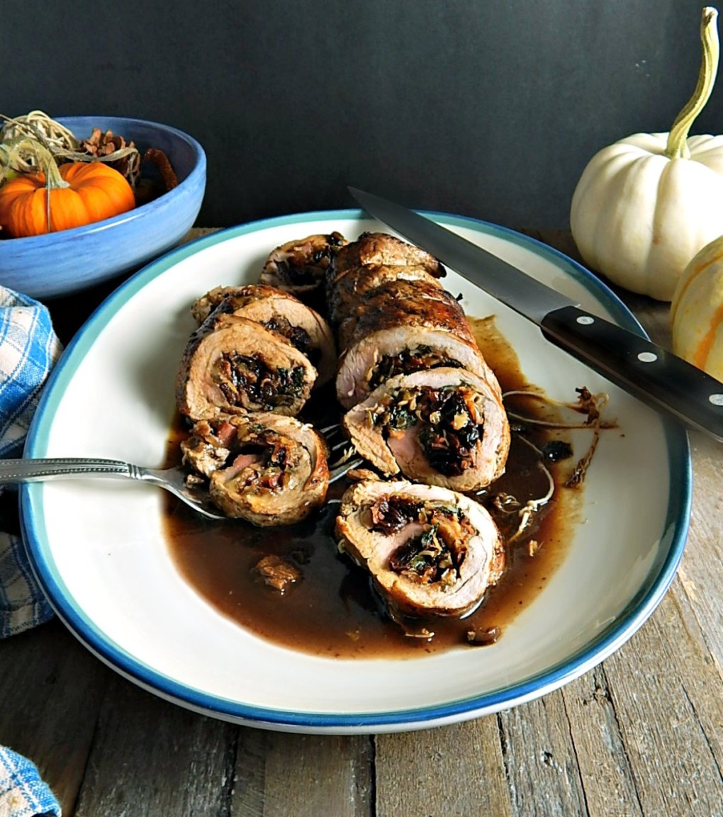 Bacon, Dried Cherry & Caramelized Onion Stuffed Pork Tenderloin