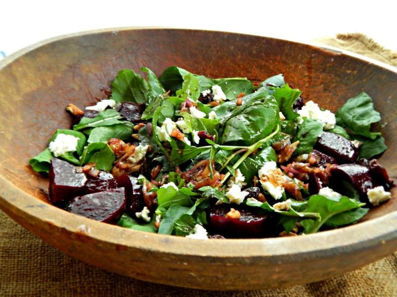 Simple Balsamic on Arugula, Beet & Goat Cheese Salad