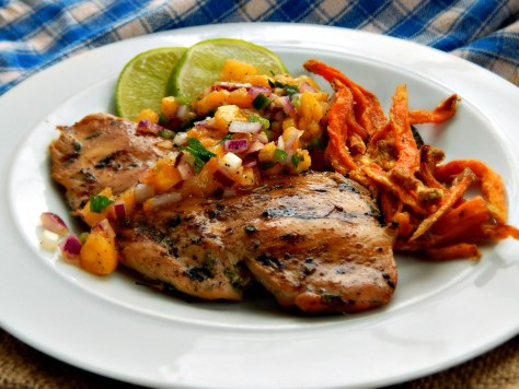 Pineapple Mango Salsa with Jerk Chicken & Sweet Potato Fries