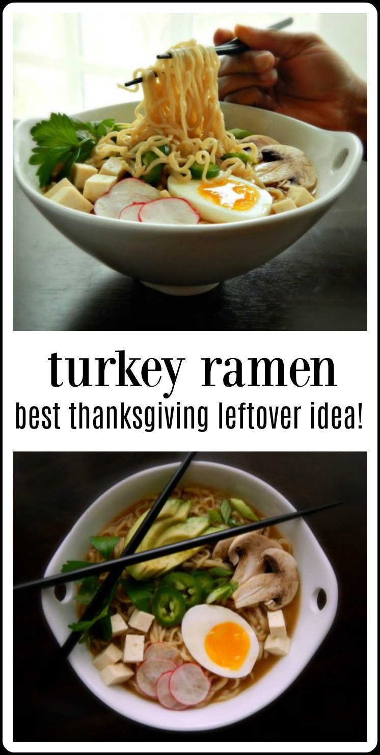 Pull out that turkey carcass and use it for this incredibly rich, silky homemade Turkey Ramen; or shortcut with a boxed broth for a quick version. Best Thanksgiving leftover idea ever! #TurkeyRamen #ThanksgivingLeftovers #LeftoverTurkeyRamen