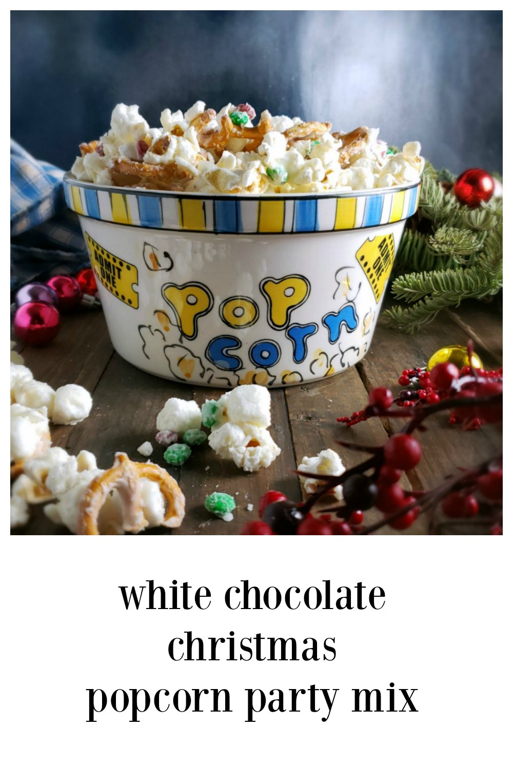 White Chocolate Christmas Popcorn Party Mix. It's Christmas magic. Crispy, chewy, gooey, sweet, double chocolatey and salty all at once. Crave-worthy! Perfect Last-Minute Party or Gift Option! #ChristmasPopcorn #WhiteChocolatePopcornMix #WhiteChocolateM&MsPartyMix