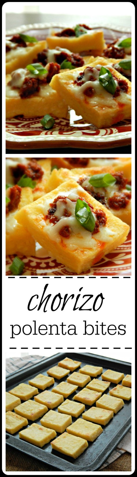 Awesome Appetizer - creamy polenta with just a bit of chorizo and melty cheese