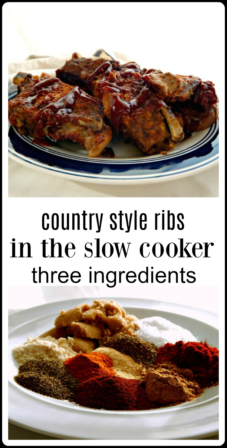 These 3 ingredient Slow Cooker Country Ribs have a Sweet Heat Rub & Honey Chipotle Barbecue Sauce. They're drop-dead simple and so delish. #SlowCookerCountryStyleRibs #CountryStyleRibs #BarbecueCountryStyleRibs