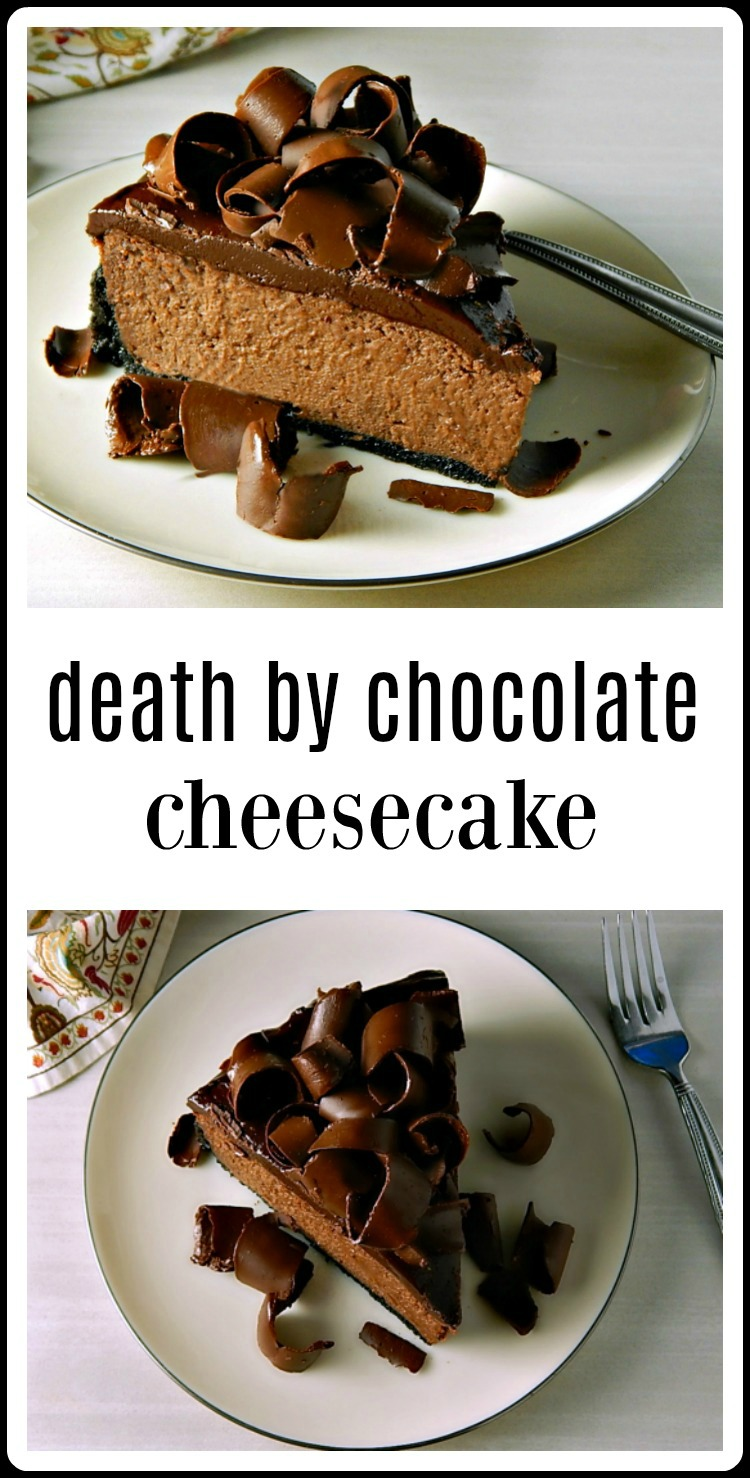 This is seriously the most decadent cheesecake ever. As if the name Death by Chocolate isn't enough to clue you in. Surprisingly easy to make. #DeathbyChocolate #DeathbyChocolateCheesecake #ChocolateCheesecake